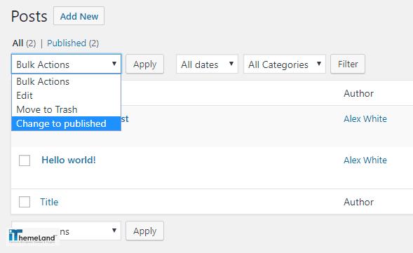 change to publish status added to bulk action combo box