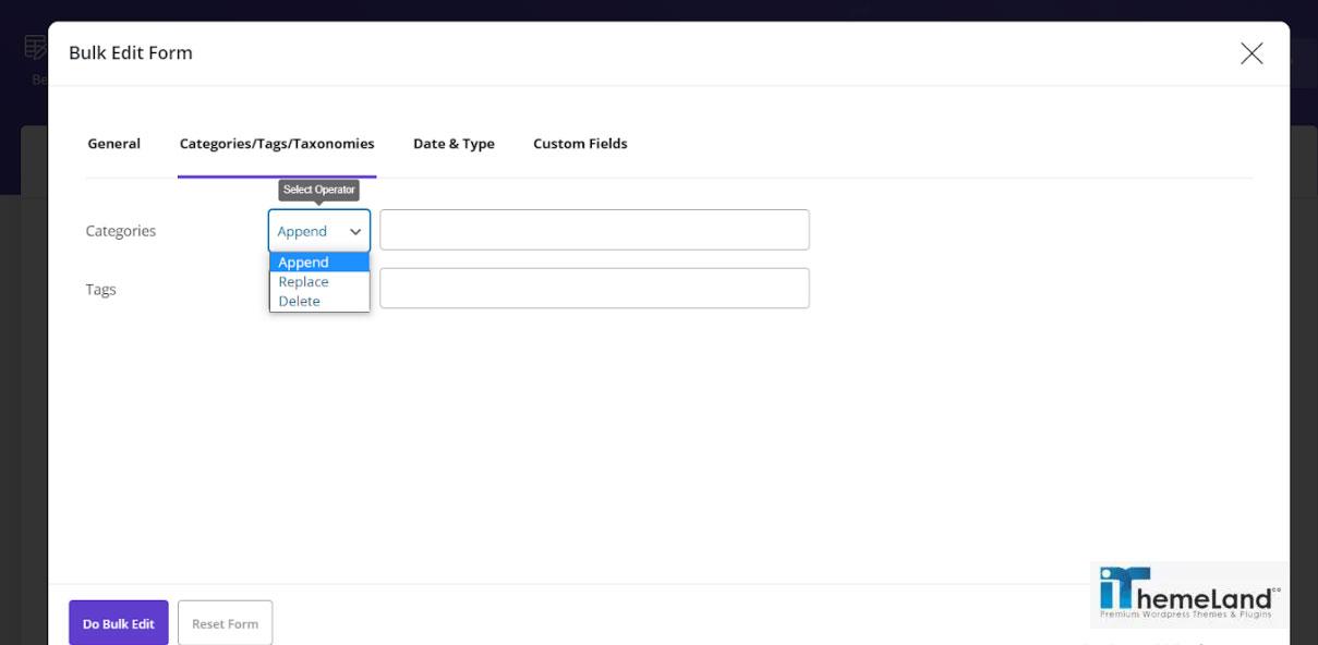 bulk edit form tab