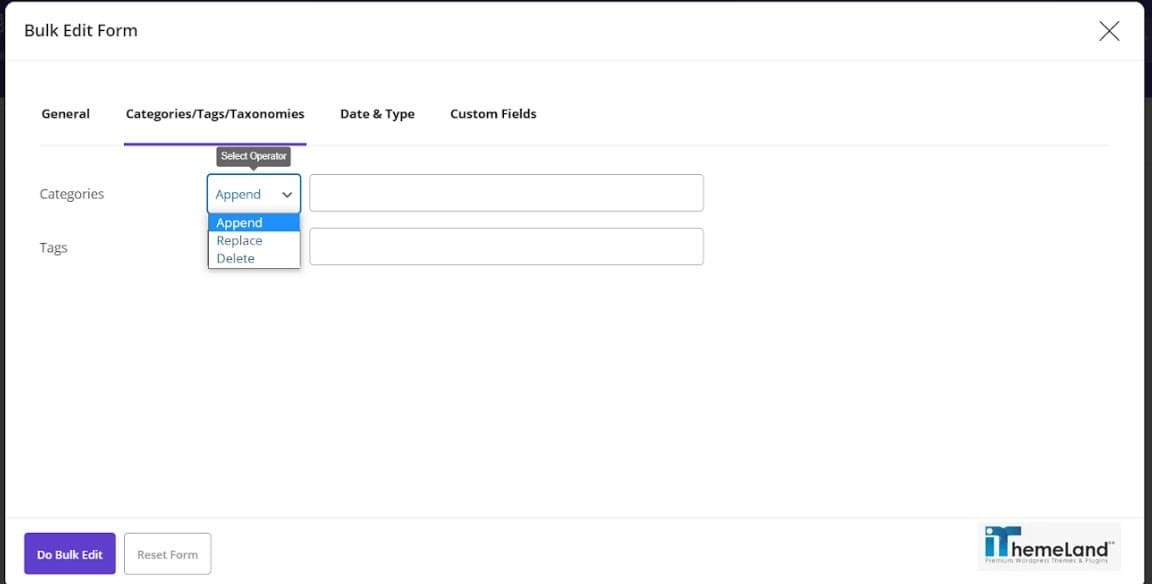 categories and tags tab in bulk edit form and condition field