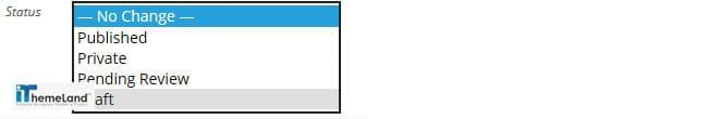 change status in wordpress bulk action