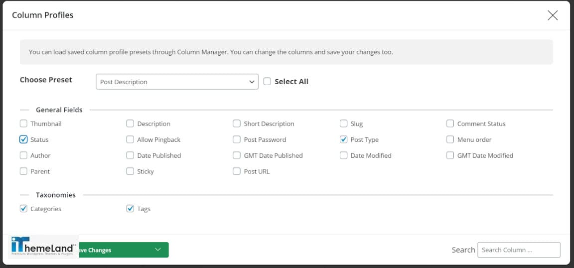 add needed columns from column profile