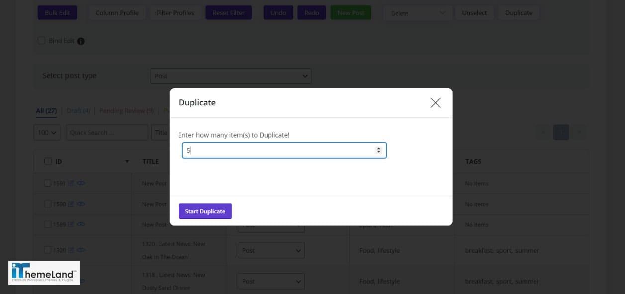 enter number of duplicates