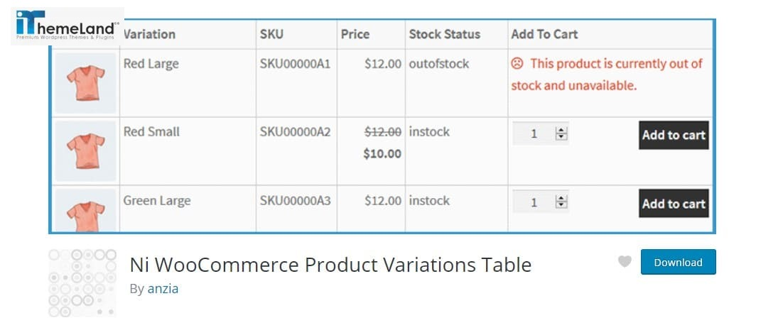 Ni WooCommerce Product Variations Table plugin