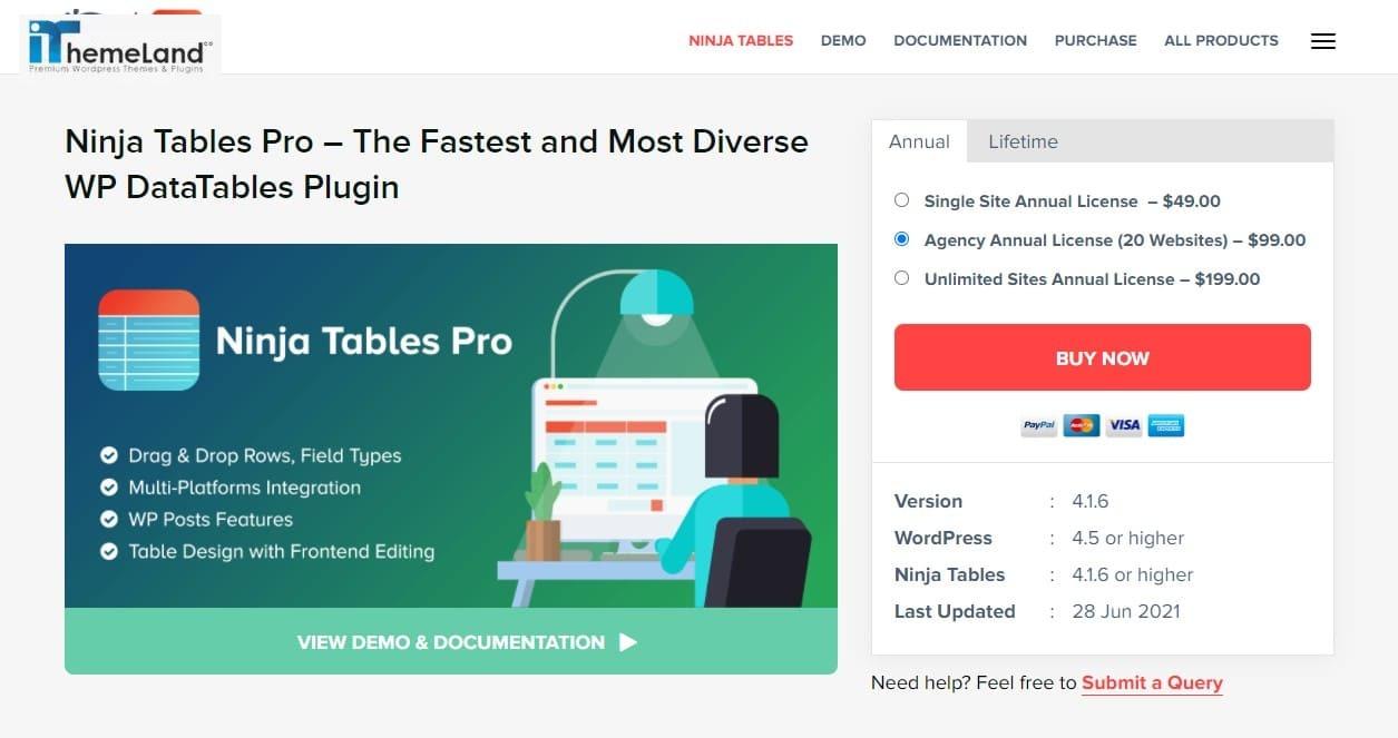 Ninja Tables Pro plugin