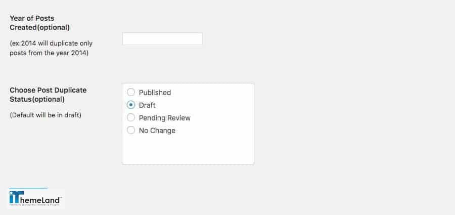 Bulk Duplicate Settings - year and publish status