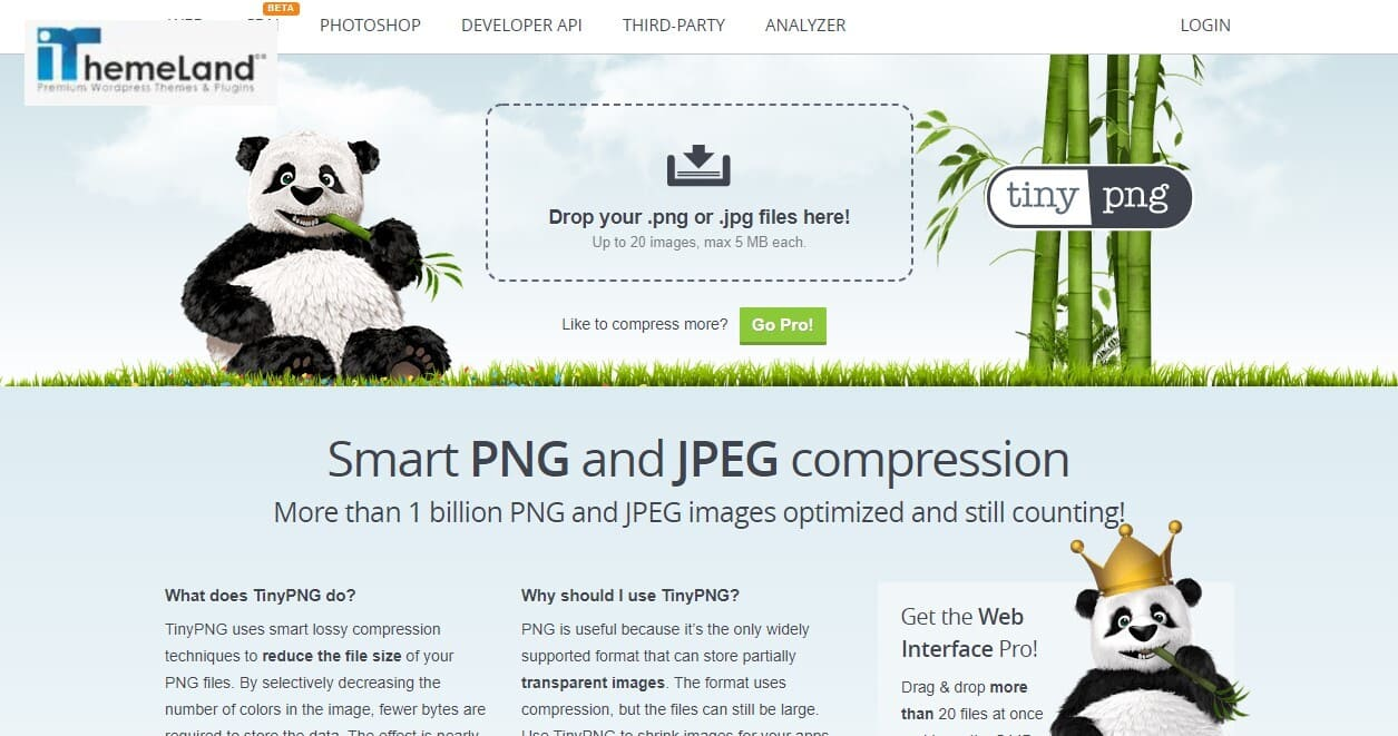 Compress Jpeg & png images by tiny png website