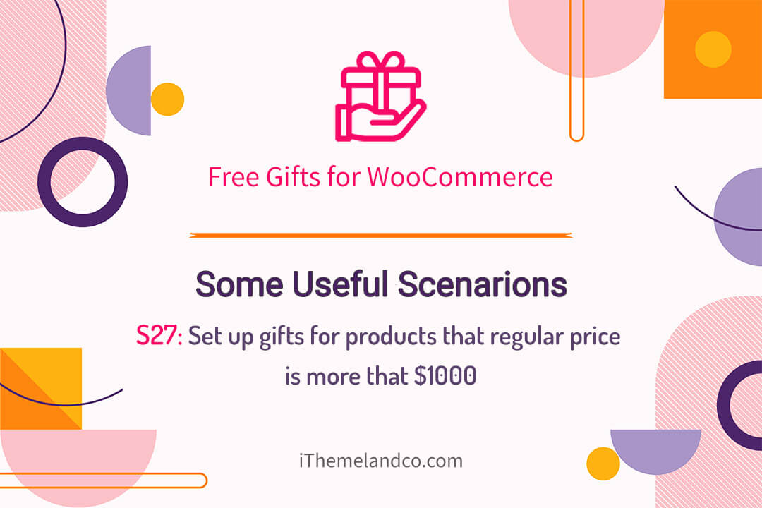 Set up gifts for products that regular price is more that $1000