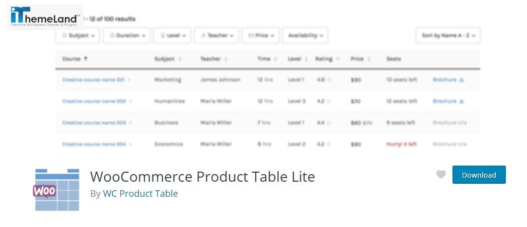 WooCommerce Product Table Lite plugin