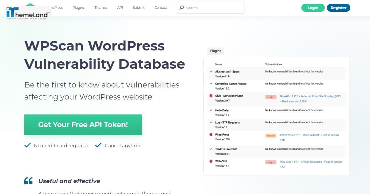 WordPress security scanner plugin